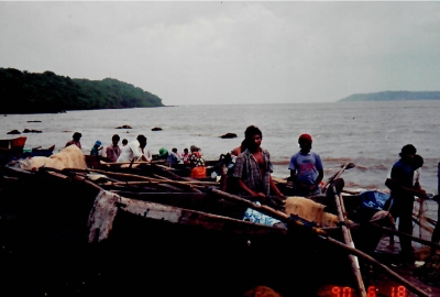 Traditional indian boats and fishermans 1990