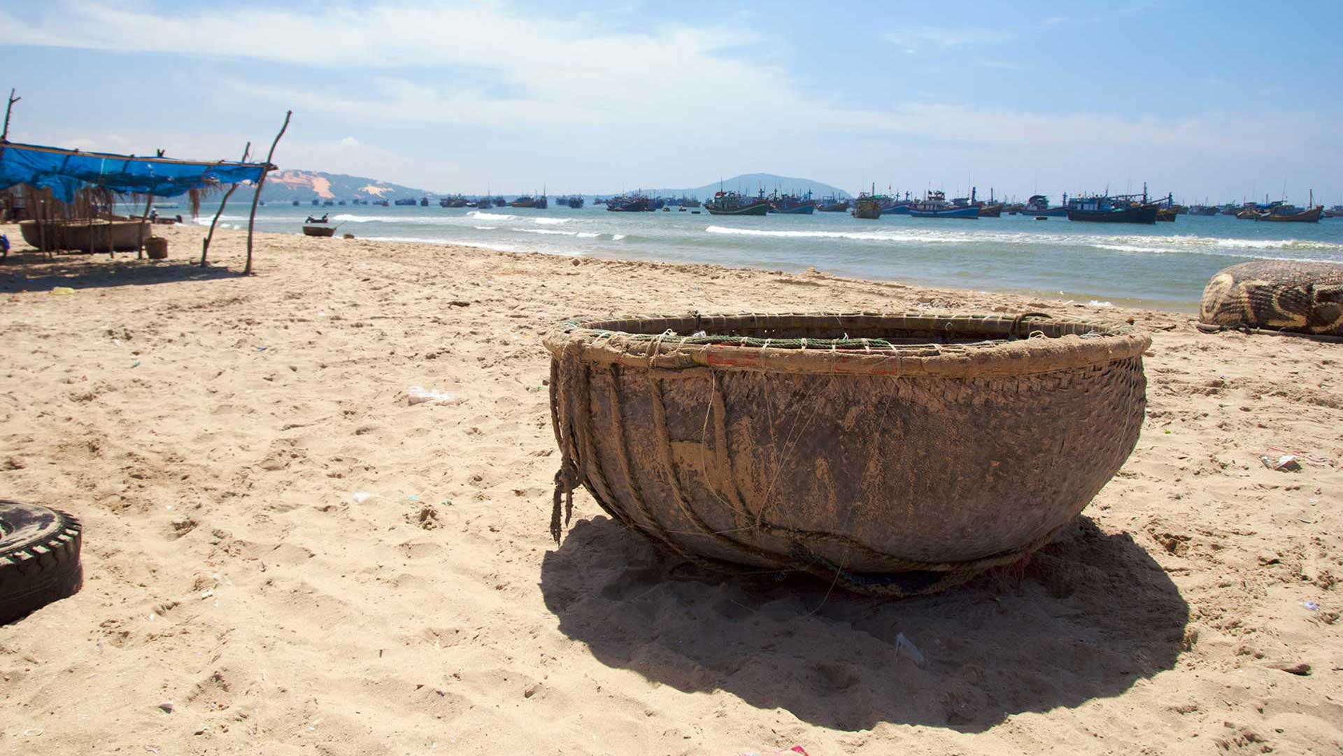 Traditional basket vietnam fishing boat